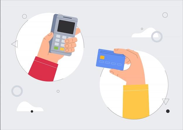 Две руки держат pos-терминал и кредитную дебетовую банковскую карту.