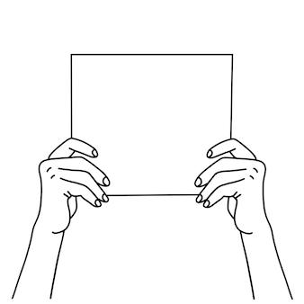 빈 종이 시트를 들고 있는 두 손은 빈 종이를 보여주는 손의 선형 벡터 삽화를 그렸습니다.