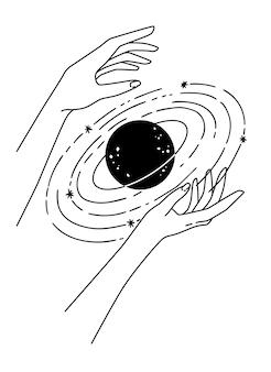 惑星を保持している2つの手