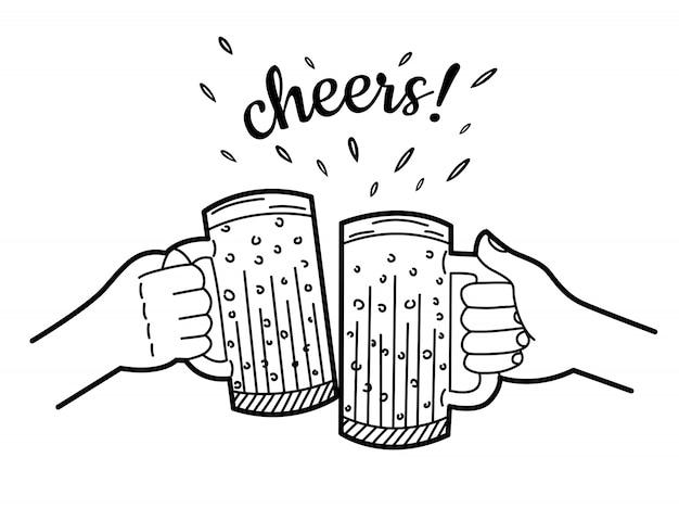 ビールジョッキを保持している2つの手