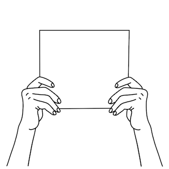Two hands holding a blank paper sheet hand drawn linear vector illustration of a hands showing blank...