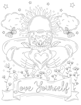 Two hands holding heart image with crown sun shines above clouds butterflies flowers line drawing