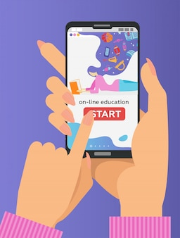 Two hands holding mobile phone with educational app on the screen. distant e-learning. finger pushes start button