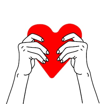 Two hands holding red heart health care help charity donate love and family concept vector sketch li...