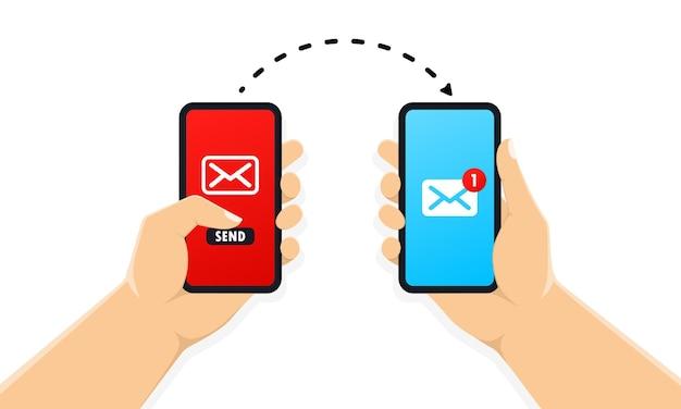 画面に新しいメッセージ通知でスマートフォンを持っている両手
