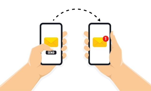 画面に新しいメッセージ通知でスマートフォンを保持している両手