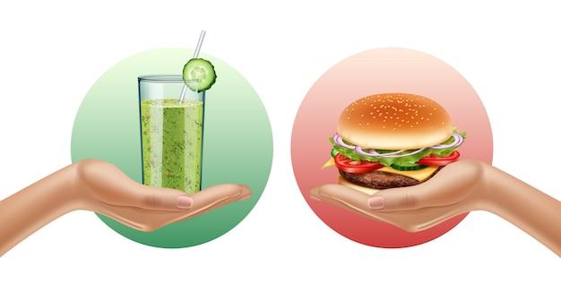 Две руки, держа стакан смузи и гамбургер. choise. оппозиция. концепция здорового образа жизни. реалистичная иллюстрация