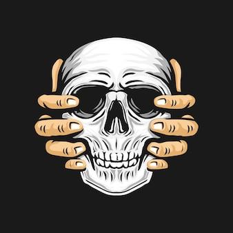 頭蓋骨を持ち上げる両手。図
