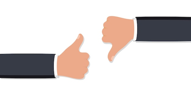 Two hands thumbs up and down. like dislike icons for social network. hand icon on white background