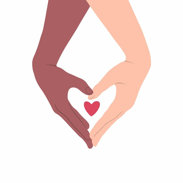 Two hands with different skin color make heart shape on white background flat vector illustration
