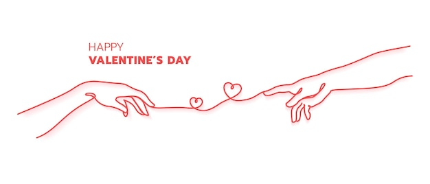Two hands with red thread destiny concept.creation of adam hand drawn. happy valentine's day minimal style.continuouse line art.