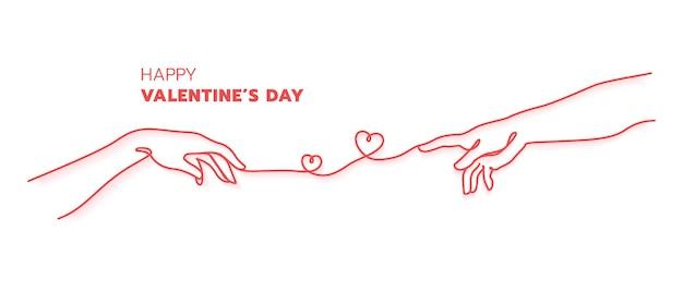 赤い糸の運命の概念を持つ2つの手。アダムの創造の手描き。幸せなバレンタインデーのミニマルなスタイル。継続的なラインアート。