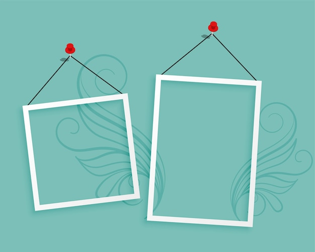 Two hanging photo frames blank background design