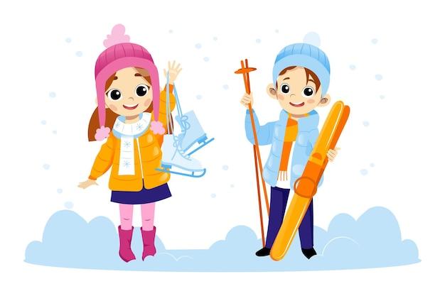 Два счастливых детских персонажа, стоя в снегу, улыбаясь и размахивая руками.