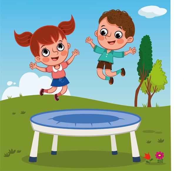 공원 벡터 일러스트 레이 션에서 트램폴린에 점프 두 행복 한 아이