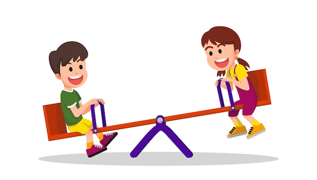 Two happy children playing seesaw