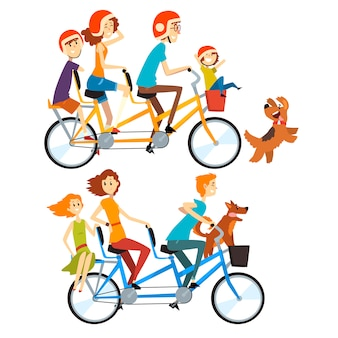 세 개의 좌석과 바구니가있는 탠덤 자전거를 타는 두 명의 행복한 가족. 육아 개념. 아이들과 레크리에이션. 사람들이 만화.