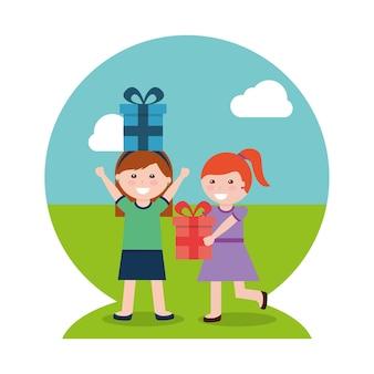 2つの幸せな女の子とプレゼントボックス
