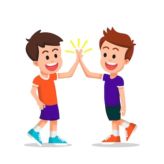 Two happy kids do a high five together
