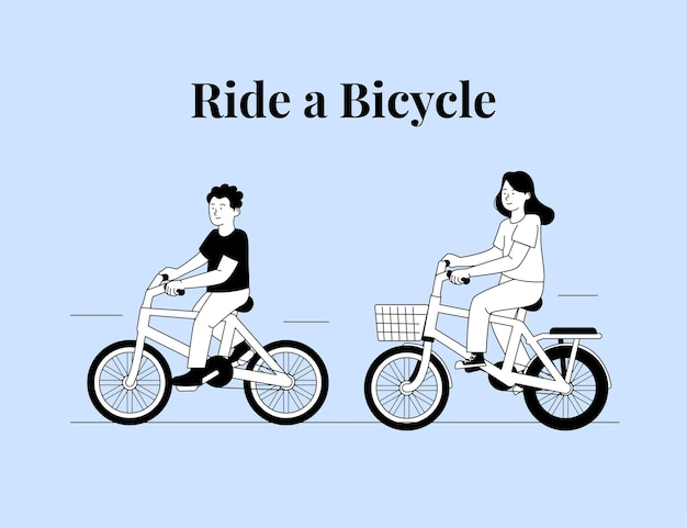 Two happy kids playing ride a bicycle on flat outline illustration