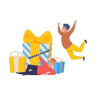 2人の幸せな人とプレゼントボックスフラット孤立イラスト