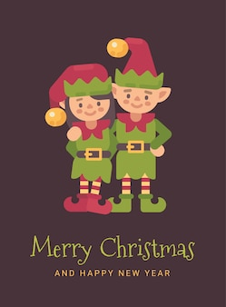Two happy santa's elves christmas greeting card