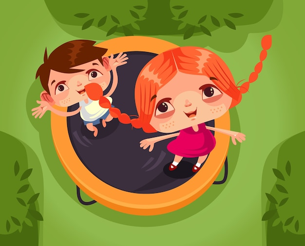 Two happy smiling children brother sister boy and girl character jumping trampoline and having fun.