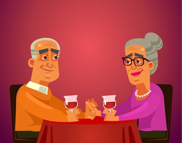 Two happy smiling old people couple grandma and grandpa characters sitting on table restaurant