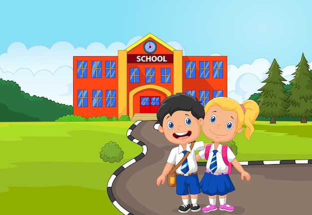 Two happy students standing  in front of school building