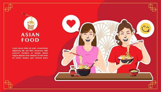 Two happy women eating noodles