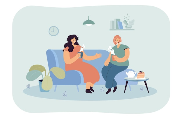 Two happy women sitting on comfy couch with hot drinks. flat illustration