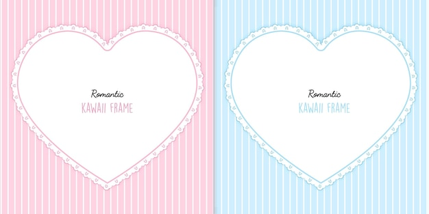 Two hearts cards with stripes set
