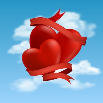 Two hearts hovering in clouds,  illustration.