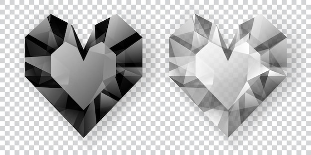 투명한 배경에 그림자가 있는 크리스탈로 만든 흑백 색상의 두 개의 하트