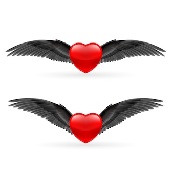 Two hearts with wings