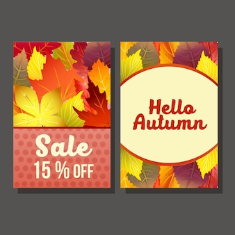 Two hello autumn sale with vivid forest leaves