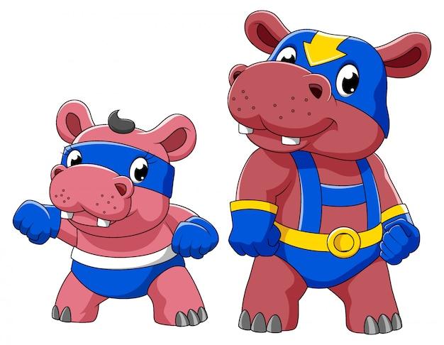 イラストのスーパーヒーローの衣装で2つのカバ