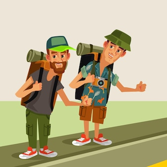 Two hipster man hitch hikerscharacters with backpack trying stop car highway road travel hitch hikingjourney holiday concept flat cartoon graphic design isolated illustration