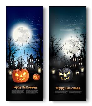 Два праздничных баннера хэллоуина с тыквами. вектор