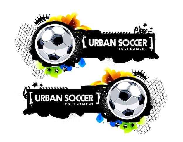 サッカーボールと落書き要素を持つ2つの水平方向のバナー。フットボールデザインの都市ストリートアートスタイルのベクトルグラフィック。