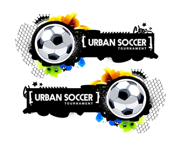 Two horizontal banner with soccer balls and graffiti elements. urban street art style vector graphic for football design.