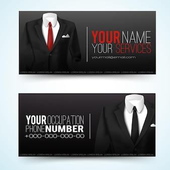 두 개의 수평 비즈니스 블랙 배너 세트 또는 방문 카드가 귀하의 이름으로 귀하의 서비스 전화 번호 및 이메일 설명을 설정합니다.