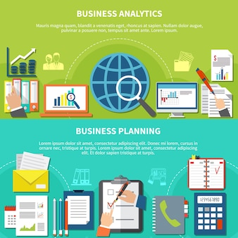 Two horizontal business items banner set with analytic and planning descriptions and with flat elements illustration