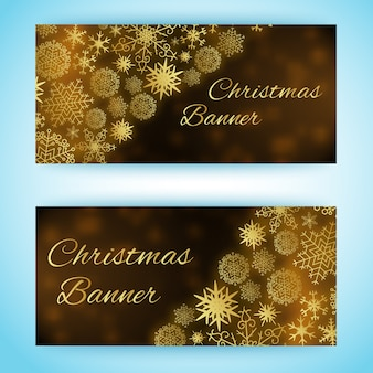 Two horizontal christmas banners with snowflakes of different size and shape