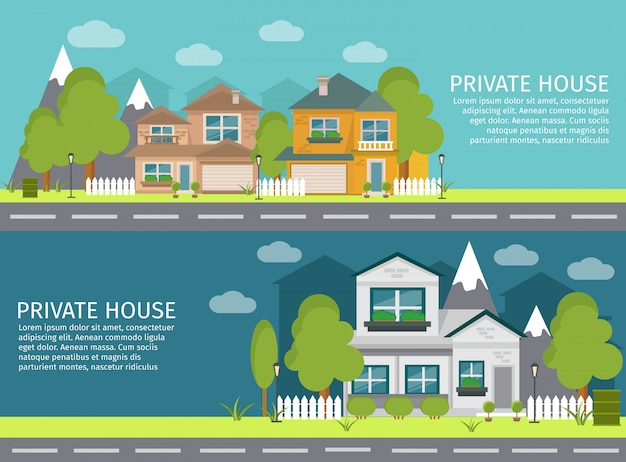 Two horizontal colored and isolated urban landscape banner set with private house headlines