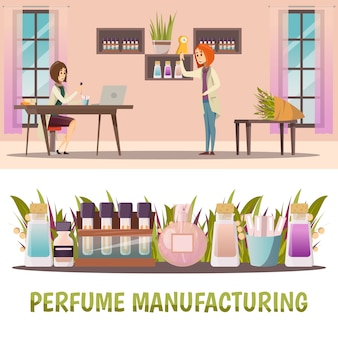 Two horizontal colored perfume shop banner set with perfume manufacturing and finished product