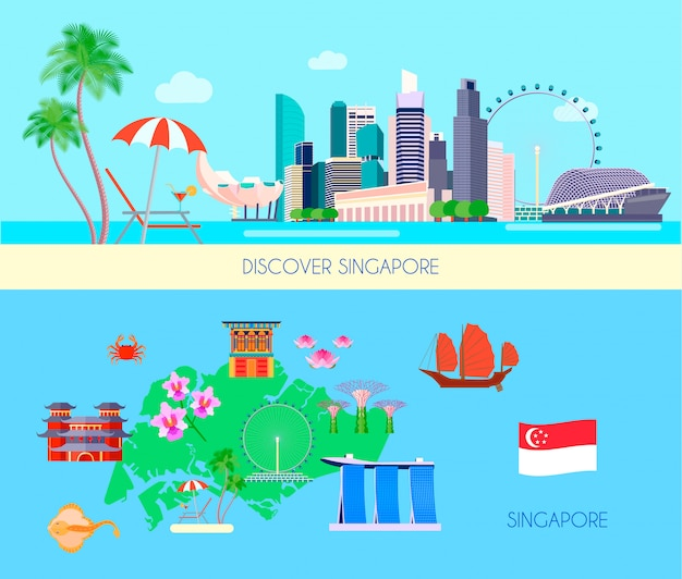 Two horizontal colored singapore culture banner set with discover singapore and singapore headlines vector illustration
