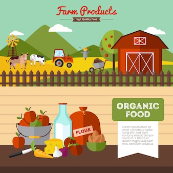 Two horizontal farm banners with organic food and farmyard in flat style vector illustration