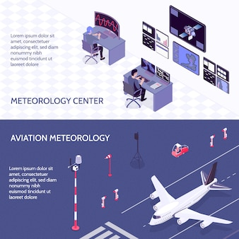 Two horizontal isometric meteorological weather center banner set with meteorology center and aviation meteorology descriptions