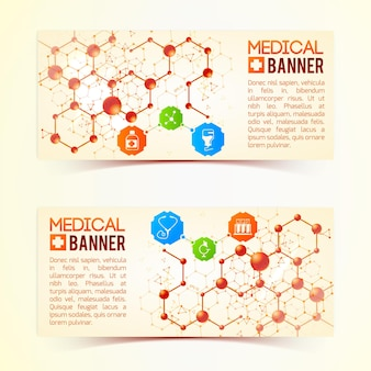バラの背景イラストに生命と健康を象徴するシンボルと原子構造を持つ2つの水平医療バナーコレクション